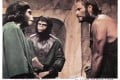 Charlton Heston as captured human Taylor with sympathetic chimpanzees Zira (Kim Hunter) and Cornelius (Roddy McDowall) from the original Planet of the Apes.