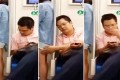 The wide-eyed man looks over at the woman's shorts before reaching out and stroking her. Once she moves away, he is suddenly engrossed by his phone. Photos: Screengrabs from Youku