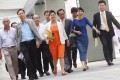 Pan-dem lawmakers arrive for the meeting. Photo: K.Y. Cheng