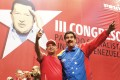 Venezuela's President Nicolas Maduro (right) embraces retired General Hugo Carvajal as they attend the Socialist party congress in Caracas on July 27, 2014.  Photo: Reuters