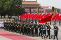 People's Liberation Army honor guards march after an official welcoming ceremony at the Great Hall of the People, Tiananmen Square, Beijing. Photo: EPA