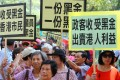Protesters march to ICAC headquarters from Causeway Bay demanding an investigation into the pan-democrats' donations. Photo: May Tse