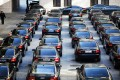 Government cars are parked at a parking lot inside the Great Hall of the People. Photo: Reuters
