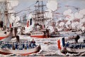 A print depicts the French navy, led by Admiral Amedee Courbet, battering the Chinese fleet on the Min River, off Fuzhou, on August 23, 1884. Photos: AFP; Stuart Heaver