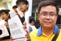 Union of Hongkong Post Office Employees chairman Ip Kam-fu (right) accused Hongkong Post of playing politics by refusing to deliver the fliers from the student-led pro-democracy group Scholarism (left). Photos: SCMP