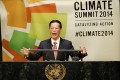 Chinese Vice Premier Zhang Gaoli speaks at the United Nations Climate Summit on September 23, 2014 in New York City. Photo: AFP