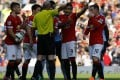 Wayne Rooney is sent off against West Ham United. Photo: Reuters
