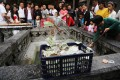 Staff scoop money from a wishing well at the crowded White Horse Buddhist Temple in Luoyang, Henan. Photo: Imaginechina