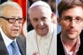 UN-Arab League envoy Lakhdar Brahimi, Pope Francis and Edward Snowden. Photos: AFP, EPA