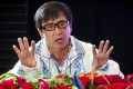 Jackie Chan speaks during a press conference which opened a Chinese Film Festival in Romania last month. Photo: AFP