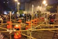Poles threaded through bins in Admiralty. Photo: SCMP Pictures