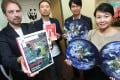 WWF officials (from left) Gavin Edwards and Cheung Chi-wah join Samuel Kwong of Swire and Natalie Chan of Hong Kong and Shanghai Hotels to launch the report. Photo: May Tse