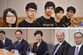 (From top left) Leaders of the Hong Kong Federation of Students Yvonne Leung, Eason Chung, Alex Chow, Lester Shum and Nathan Law. (From bottom left) Hong Kong government representatives Edward Yau, Rimsky Yuen, Carrie Lam, Raymond Tam and Lau Kong-wah. Photos: AFP