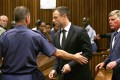 Oscar Pistorius (centre) is led by officer into a holding cell after being sentenced at the high court in Pretoria. Photo: AFP