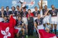 Hong Kong celebrate winning their home Asian Sevens Series tournament in August. Perhaps Village People playing at next year's Hong Kong Sevens can inspire the team to reach even greater heights. Photo: HKRFU