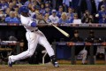 Kansas City Royals Lorenzo Cain hits a RBI double during the third inning of game six as the Royals look set to take the series into game seven. Photo: AP
