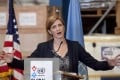 US Ambassador to the United Nations Samantha Power speaks following her visit to the UN Mission for Ebola Emergency Response in Accra, Ghana on Wednesday. Photo: AP