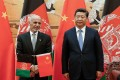 Afghan President Ashraf Ghani with President Xi Jinping at the Great Hall of the People in Beijing on Tuesday. Photo: AFP