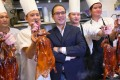 Hardy Kam celebrates with his chefs the awarding of a Michelin star to Kam's Roast Goose restaurant in Wan Chai. Photo: Nora Tam