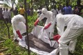 Hearth workers cover the body of a man suspected of dying from the Ebola virus on the outskirts of Monrovia, Liberia. Photo: AFP