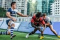 Two-try wing David Vainqueur shrugs off the HKFC defence to score as Valley secure a bonus-point with their 25-8 victory in the Hong Kong Premiership on Saturday. Photos: HKRFU