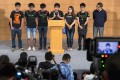 Members of the Federation of Students and Scholarism address the media after talks with the government last month. Photo: Reuters