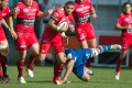 Bryan Habana, seen on the charge for Toulon against Grenoble in a French Top 14 match last weekend, is one of three players who each have more than 100 caps for South Africa. Photos: AFP