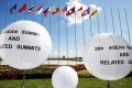 Flags will welcome delegates to an Asean summit venue. Photo: EPA