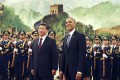 The two presidents in the Great Hall of the People in Beijing. Photo: AP