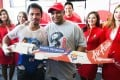 Manny Pacquiao with Air Asia CEO Tony Fernandes. Photo: SCMP Pictures