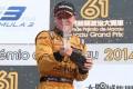 Felix Rosenqvist celebrates on the podium. Photo: KY Cheng