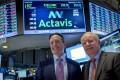 Actavis CEO Brenton Saunders and Allergan CEO David Pyotton. Pharmaceutical giant Actavis said it would pay US$66 billion for Allergan. Photo: Reuters