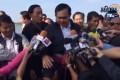 Prime Minister Prayuth Chan-ocha pats the reporter's head.