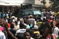 Nigerian police patrol after yesterday's blasts. Photo: AFP