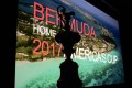 The America's Cup trophy sits in front of a video screen during a media conference in New York to announce Bermuda as the site of the 35th America's Cup. Photo: AFP