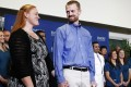 Kent Brantly, who contracted the deadly virus Ebola, looks at his wife Amber during a news conference at Emory University Hospital in Atlanta, Georgia. Photo: Reuters