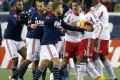 """New England Revolution players scuffle with New York Red Bulls players in a classic case of """"handbags"""". Photo: AP"""
