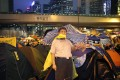 A life-sized cut-out of President Xi Jinping is seen in the Admiralty protest site. Photo: EPA