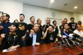 Members of Occupy Central and pan-democrats meet the media at Legco Building after The National People's Congress Standing Committee has officially laid out an extremely conservative framework for Hong Kong's political reform on August 31, 2014. Photo: David Wong