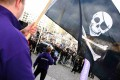 A supporter of file-sharing hub The Pirate Bay, waves a Jolly Roger flag during a demonstration in Stockholm in 2009. Photo: Reuters