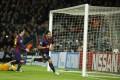 Barcelona's Luis Suarez celebrates scoring  against Paris Saint-Germain. Photo: Xinhua