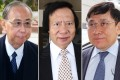 Rafael Hui Si-yan (left) is accused of taking HK$28.8 million of cash and inducements from SHKP's Thomas Kwok Ping-kwong (centre) and Raymond Kwok Ping-luen (right). Photos: K.Y. Cheng, Edward Wong