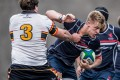 Hong Kong Scottish second-rower Mike Parfitt (right) looks for a way past HKCC's Rohan Cook during last weekend's Premiership victory for the Shek Kip Mei outfit. Photo: HKRFU