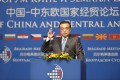 Premier Li Keqiang addresses the summit of central and eastern European leaders in Belgrade yesterday. Photo: Xinhua
