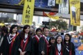 Graduates at the Occupy site in Admiralty. Photo: Reuters