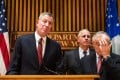 New York City Mayor Bill de Blasio (L) and Police Commissioner Bill Bratton (R), at Monday's press conference about the deaths of two police officers. Photo: AFP