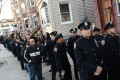 Officers line up for the wake for NYPD officer Rafael Ramos on Friday. Photo: AFP
