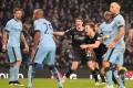 Ashley Barnes celebrates scoring the equaliser for Burnley. Photo: AP