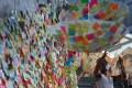 'Lennon Wall' in Admiralty, where a teenager who scribbled a flower on the wall has been taken into care. Photo: Nora Tam/SCMP