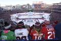 Washington Capitals and Chicago Blackhawks fans enjoy the Winter Classic at Nationals Park baseball stadium in Washington. Photo: AP